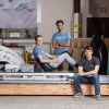 Students from the Hyperloop team, with their pod